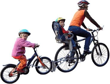 Connect your bikes and pedal together to school in the morning rush, disconnect and lock her bike there, then ride off on your bike with the FollowMe stowed compactly behind you. After school, take the slow route home with your child riding on their own. BRILLIANT!