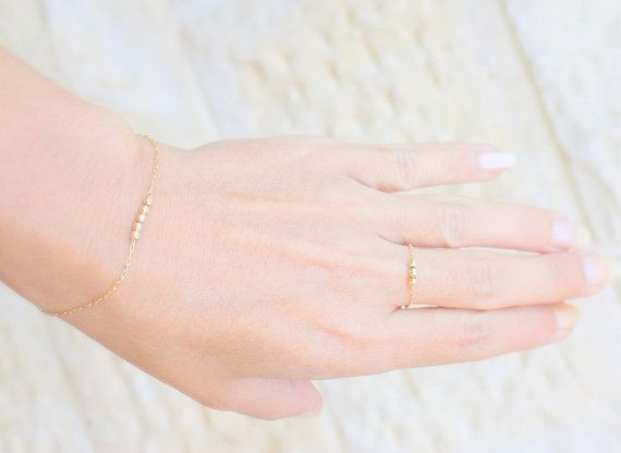Find More Rings Information about Tiny Gold Ring    gold filled chain combined three tiny gold beads, simple gold ring,High Quality ring spike,China ring toss rings Suppliers, Cheap ring tuner from City lovers Liu Yanxia on Aliexpress.com