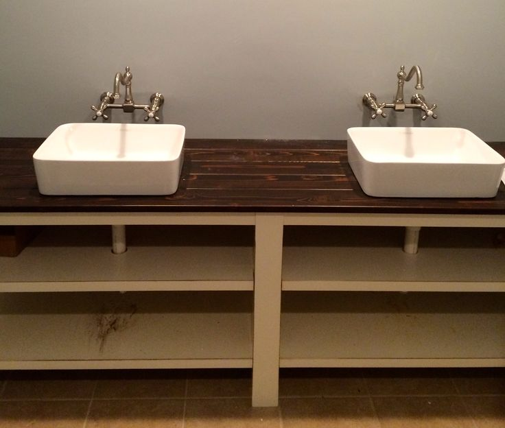 custom bathroom sinks a bathroom vanity made out of a stained cedar plank 12606 | 86ea7d139608706a8fdcde29cf6ee2e6