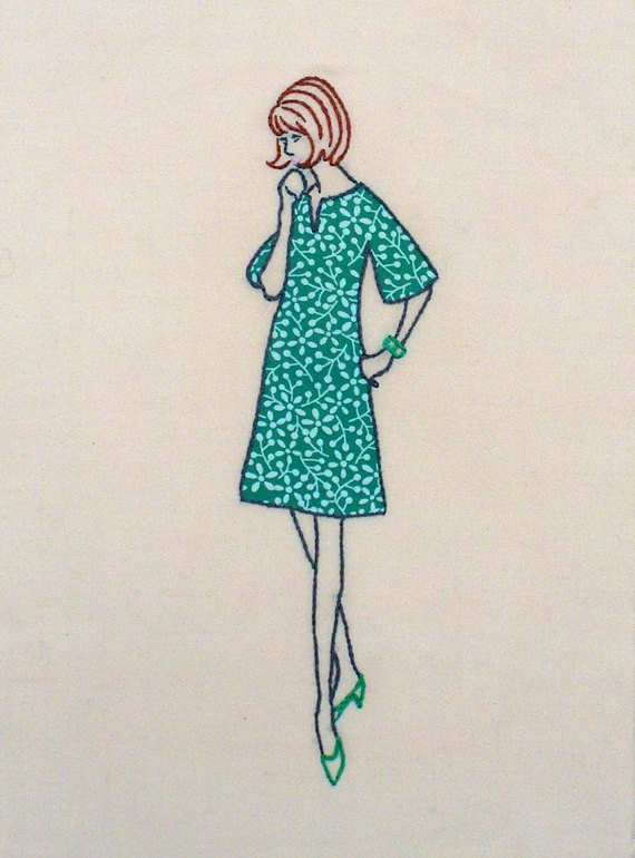 Embroidery lady with green dress / via Etsy