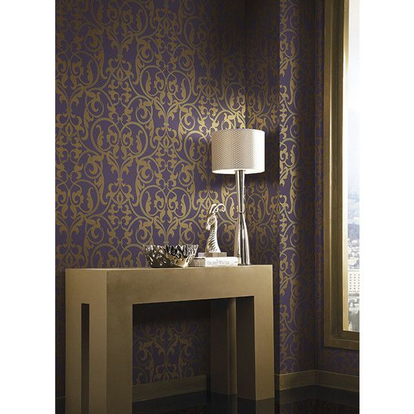 Royal Scroll Wallpaper in Purple and Gold by Antonina Vella for York... ($62) ❤ liked on Polyvore featuring home, home decor, wallpaper, leaf wallpaper, leaf pattern wallpaper, gold home accessories, purple pattern wallpaper and gold home decor
