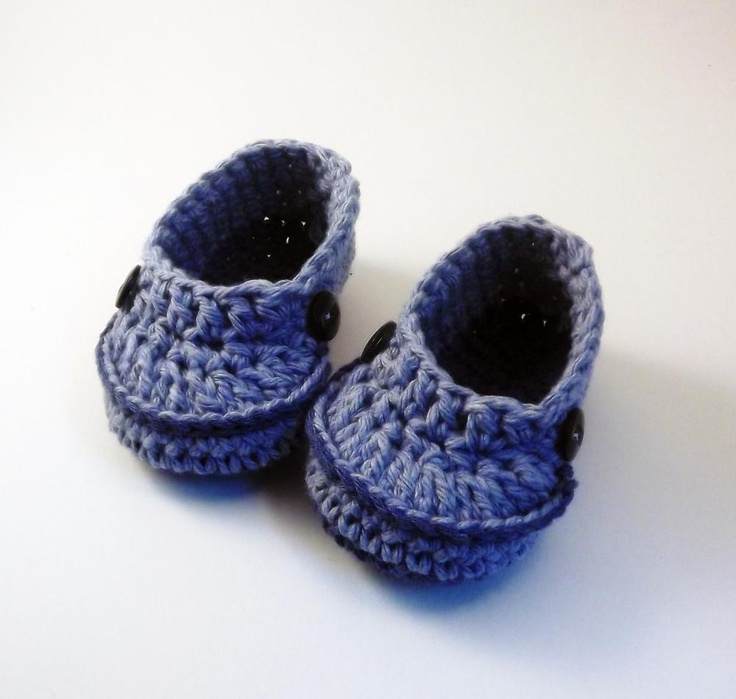 little boy crochet booties navy blue cotton with buttons booties babies