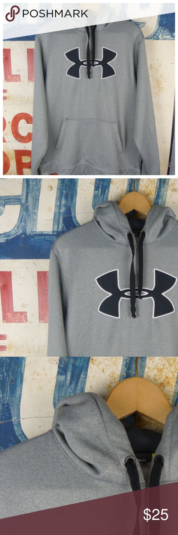 """Under Armour Mens Hooded Sweatshirt Size Large Under Armour Mens Hooded Sweatshirt Size Large  Great condition Polyester Loose for 27"""" L 23"""" side to side at the under arm Under Armour Shirts Sweatshirts & Hoodies"""