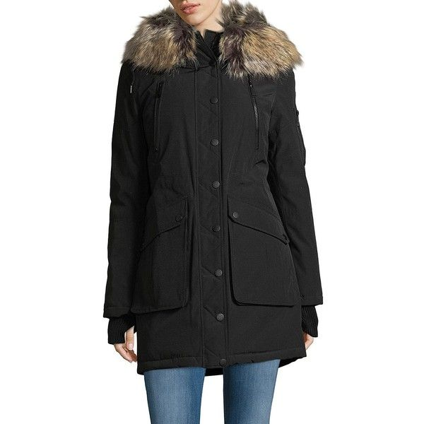 BCBGeneration Women's Snap Front Faux Fur Parka ($156) ❤ liked on Polyvore featuring outerwear, coats, black, hooded parka, parka coat, faux fur hooded coat, fur-lined coats and faux fur hooded parka