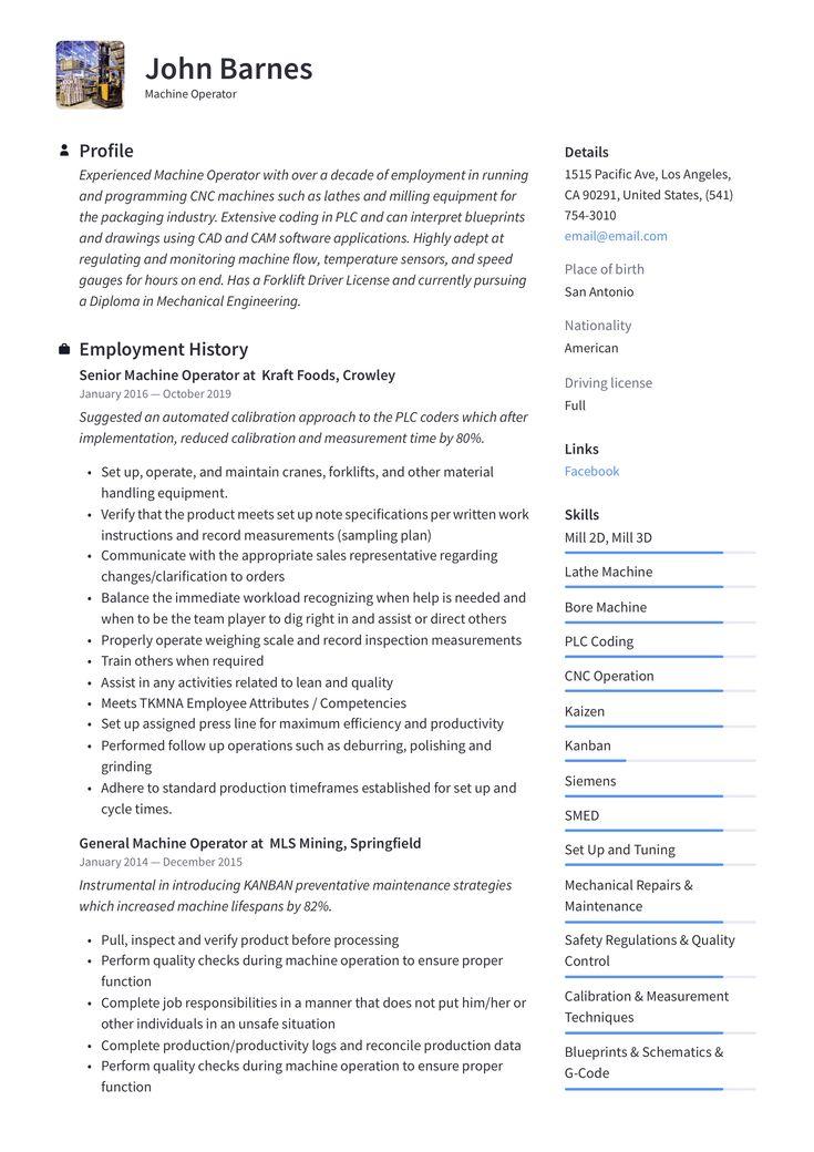machine operator resume template  guided writing resume