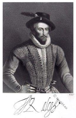 Sir Walter Raleigh.  époque élisabéthaine.  costume Tudor.  16e siècle.  mode