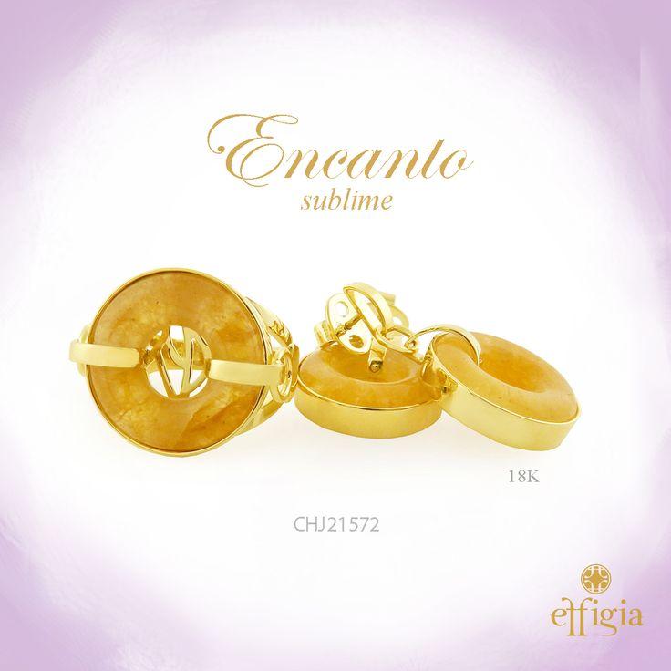 Effigia presenta este magnífico juego de oro amarillo de 18 k con Jade amarillo. ¡Brilla con Effigia! #Joyas #Oro #Jade