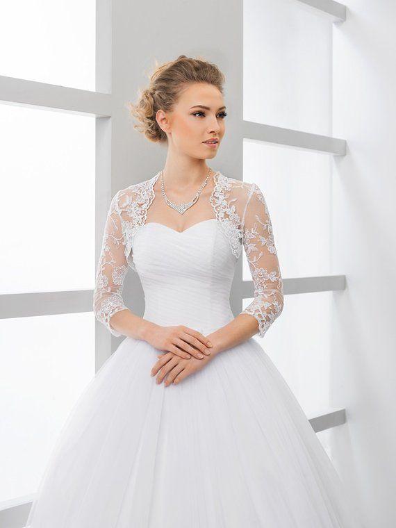 Lace 3 4 Sleeve Bridal Shrug Lace Bolero Wedding Bolero Jacket In