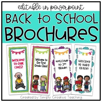 This product is an *editable* back to school brochure / pamphlet - great to use at Back To School Open Houses or Meet the Teacher night!