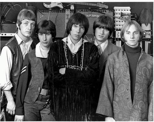 BUFFALO SPRINGFIELD... backstage - Buffalo Springfield: Stephen Stills (far right), Dewey Martin, Bruce Palmer, Richie Furay, Neil Young (center)