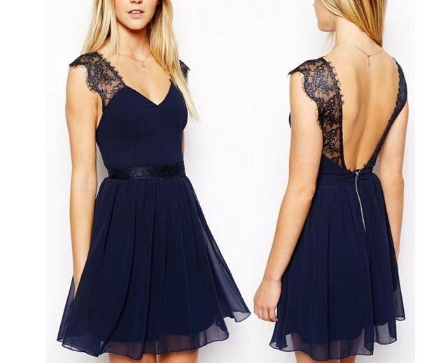 XH6 Short Black Lace Navy Blue Homecoming Dress ,Chiffon Lace Short Navy Blue Bridesmaid Dress ,V-Neck Homecoming Dress,Cheap Dress,Open Back Navy Blue Short Lace Homecoming Dress