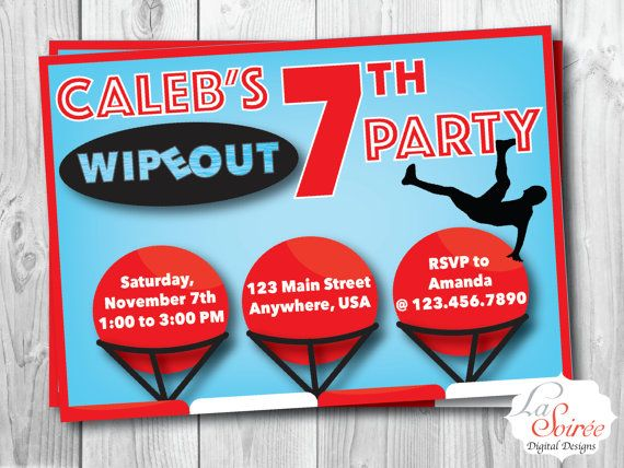 WIPEOUT BIRTHDAY, Wipeout Birthday Party, Wipeout Birthday Invitation, Wipeout Digital Invitation, Wipeout Printable, Obstacle Course Party