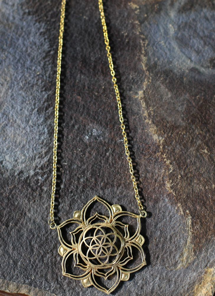 Blooming Seed Of Life Brass Sacred Geometry Filigree Lotus Flower Pendant by youareinfinite on Etsy