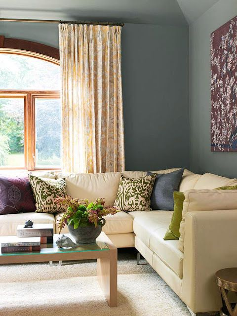 10 images about living room light yellow walls on - Grey and purple living room walls ...