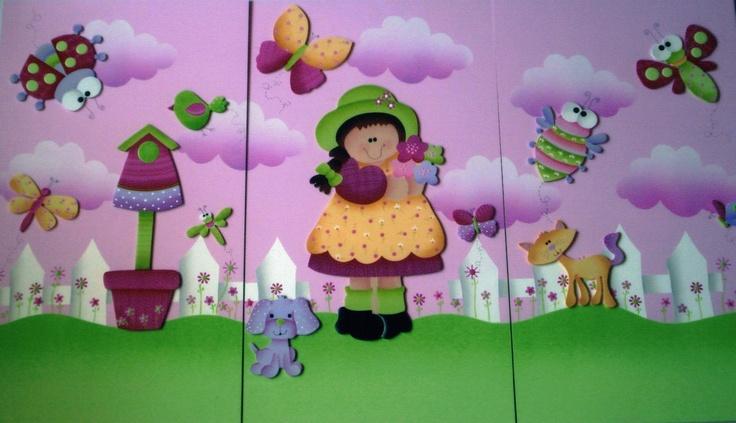 Cuadros decorativos, (trípticos)  para niñas!