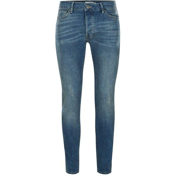 Topman Vintage Blue Stretch Skinny Jeans ($40) ❤ liked on Polyvore featuring men's fashion, men's clothing, men's jeans, sale men jeans, mens stretch skinny jeans, mens super skinny jeans, mens tapered jeans, mens skinny fit jeans and mens skinny tapered jeans
