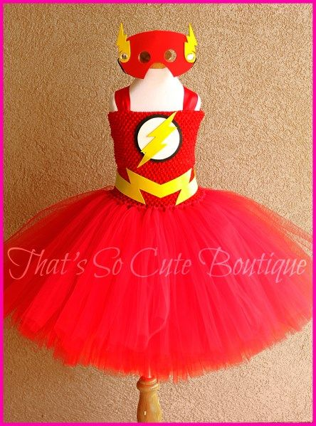 Flash Girl Tutu Dress - Disfraz de flash tutú para niña. ¡Rápida como un rayo!