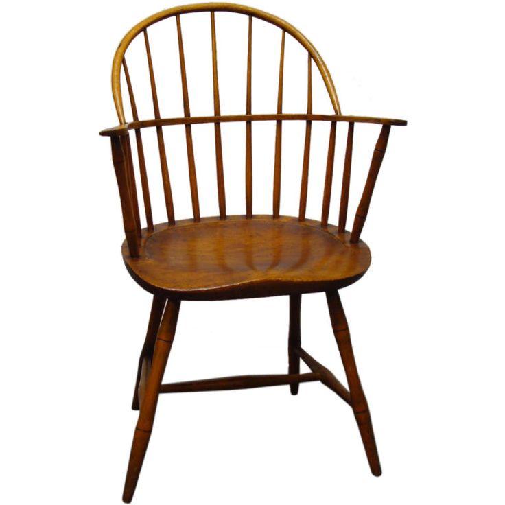 18th C New England Bow Back Windsor Arm Chair W Saddle