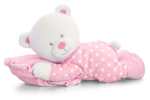 From the Baby Keel range, this soft plush white teddy is adorable and ready for bed wearing a pink and white spotty baby grow cuddling a matching pink pillow. They measure approximately 25cm in length and are suitable from birth. Makes an ideal New Born gift or as an addition to a Baby Gift Hamper.