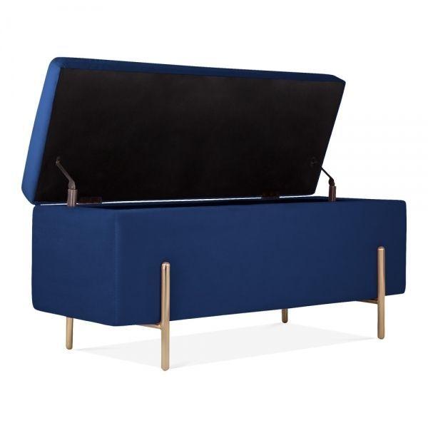 Upholstered Storage Bench Blue