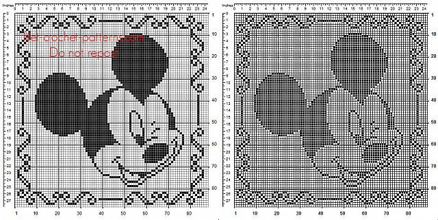 Children home pillow with Disney Mickey Mouse free filet crochet pattern 88 squares