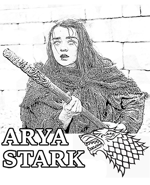 Coloring Page With Arya Stark A Game Of Thrones