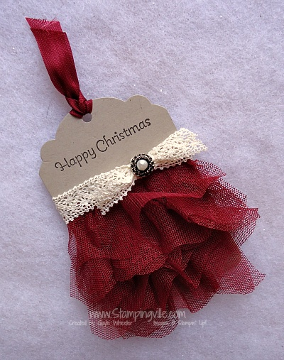 Happy Christmas Gift Tag with Tulle and Crochet Trim. Stampingville.com