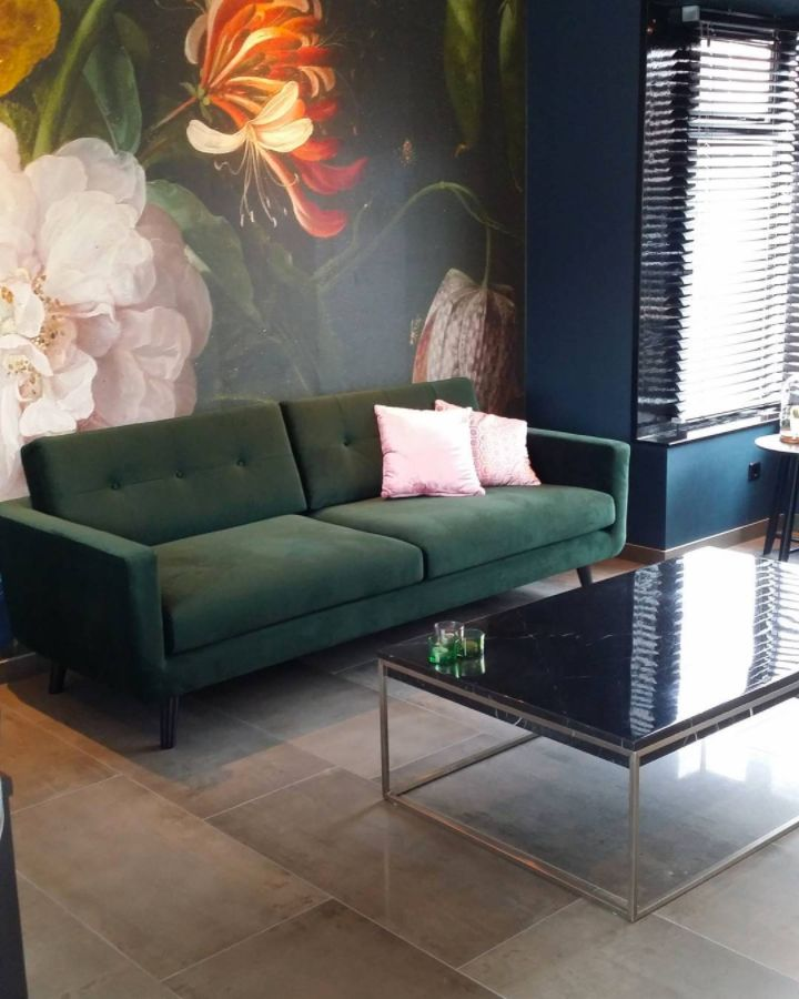 The beautiful Conrad in design your own velour dark green sofacompany.com
