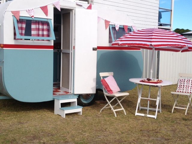 Meet Dolly, she's a fully restored 1957 home built wooden caravan.