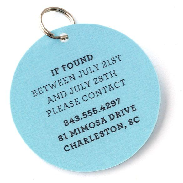 If you take your #pet on vacation this summer, add an easy #DIY tag like this one to his or her collar. That way, if your pet strays, people will be able to reach you. #MarthaStewartPets #pettips #petcareVacations Tags, Pets Tags, Dog Tags, Special Vacations, Vacations Pets, Vacations Contact, Martha Stewart, Diy Vacations, Dogs Tags