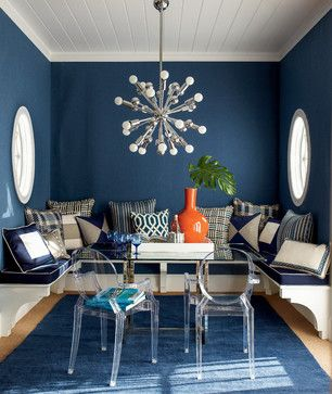 Outdoor fabrics should be called indoor outdoor fabrics. Use them anywhere you have strong light (they resist fading) or need high performance fabrics to stand up to pets, toddlers and teenagers. (They're stain resistant and can be cleaned with mild soap and water.) All of the fabrics used in this room are outdoor fabrics! Image: calicocorners.com