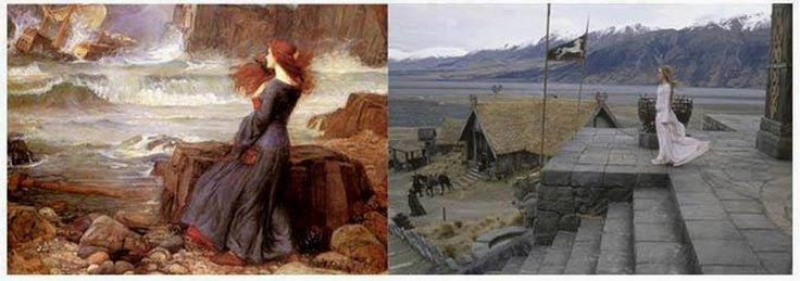 Comparación entre Miranda - The Tempest (John William Waterhouse, 1916, y un fotograma de The Lord of The Rings, The Two Towers (2002).