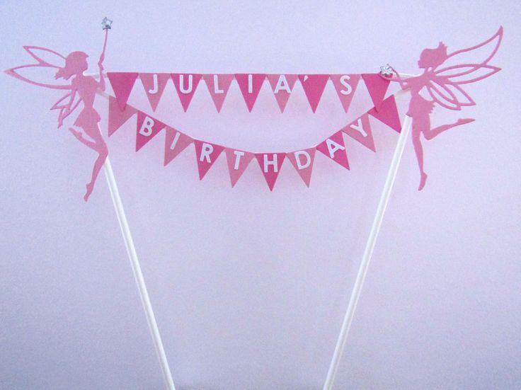 Personalised Cake Topper With Fairies  #birthday #cakedecorating #HappyBirthday #birthdaycake #fairy # fairies