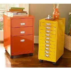 Paint old metal filing cabinets in brighter colors