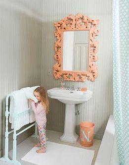 White Turquoise And Peach Kids Bathroom