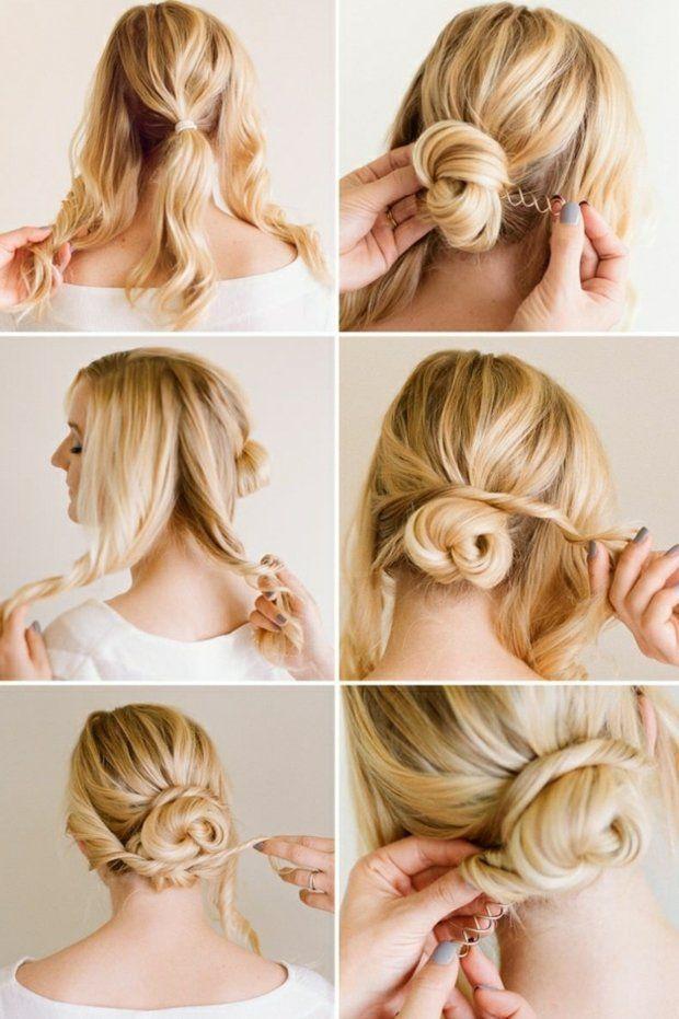 mittellange Haare Hochsteckfrisur selber machen Ideen