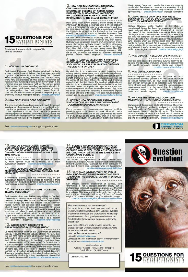 15 critical questions that evolutionists cannot adequately explain.  From Creation Ministries International - http://creation.com/question-evolution