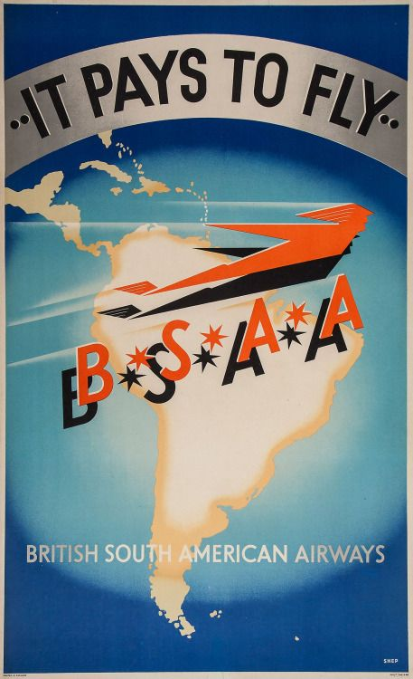 …or not. The short-lived BSAA was partly responsible for the rise of The Bermuda Triangle legend with the disappearance of two of its planes in the area between 1948 and 1949. 'Shep', the artist, was Charles Shepard who designed many a rail, mail,...
