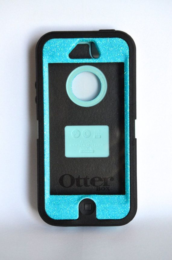 Otterbox Defender Series Case Iphone 5 Glitter Cute Sparkly Bling Custom Blue Black