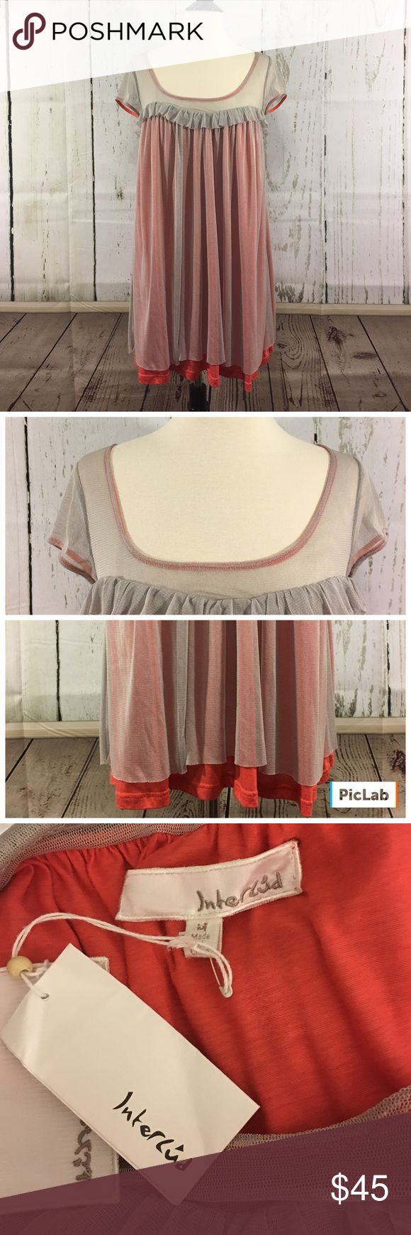 """🎀🆕Interlud Silk Chiffon Layered Dress/Tunic🎀 This gorgeous dress or tunic, can be worn either way has a beautiful, pale gray colored silk chiffon layer on top and underneath is an orange lining made of 95% rayon and 5% wool and it's by Interlud which is an Anthropologie label. The length of this dress/tunic is 33"""" and it's new with tags attached. Anthropologie Dresses"""