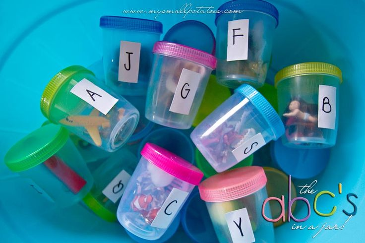 """Alphabet in jar from Small Potatoes....""""Our spin"""" I used these in my classroom all the time to teach letter and letter sounds. Great resource to create at home with your kids!"""