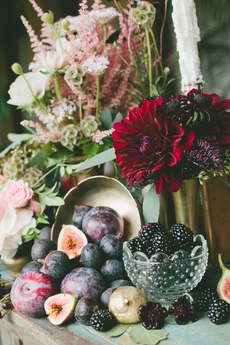 Deep red color palette with pale pinks and a little soft green - This image should be a painting! See SMP Weddings for more #inspiration: http://www.StyleMePretty.com/2014/01/30/figs-gold-wedding-inspiration/ Onelove Photography | Seed Floral Couture