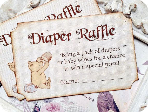 Vintage Inspired Classic Winnie the Pooh Diaper Raffle Ticket - Set of 10 - Baby Shower Invitations, Birthday Invitations