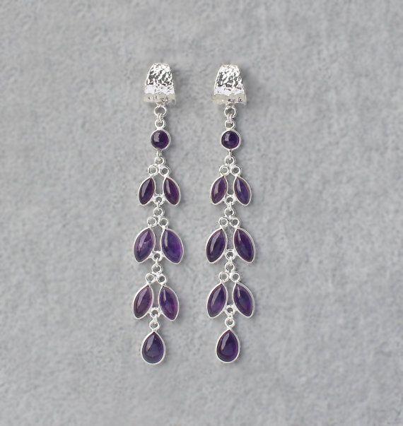 Amethyst Chandelier Earrings super long by SaruchiRJewellery