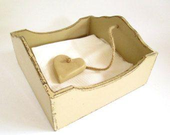 Rustic Beige Wood Napkin / Serviette Holder with Clay Heart Weight