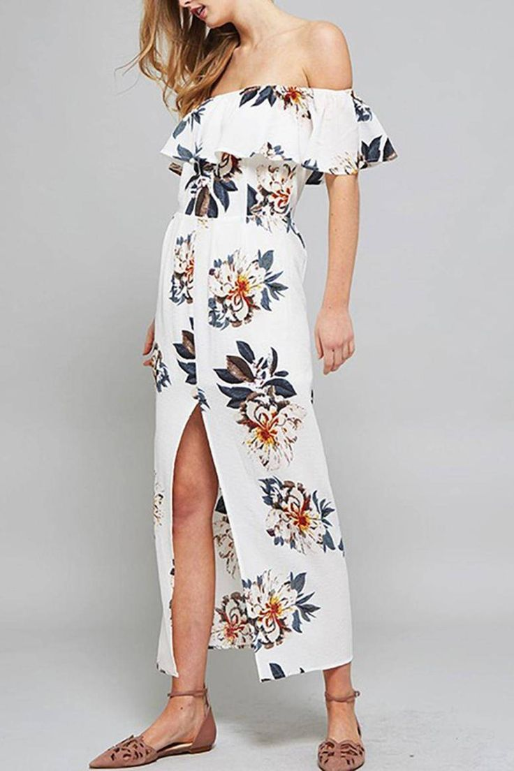 Off the shoulder floral maxi dress with a slightly ruffled overlay around  the elastic shoulder line