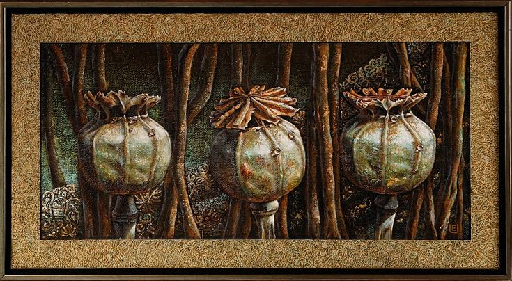 Three Poppies 45-75cm. Oil on canvas, special texture.