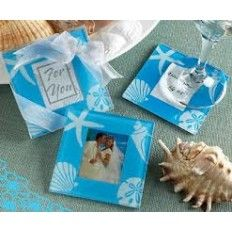 Blue Sea Shell and Starfish Frosted Glass Photo Coaster Set Favour