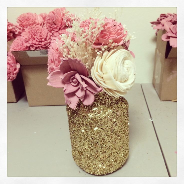 Pink ivory sola flowers gold glitter mason jar | Wedding Bouquet ...