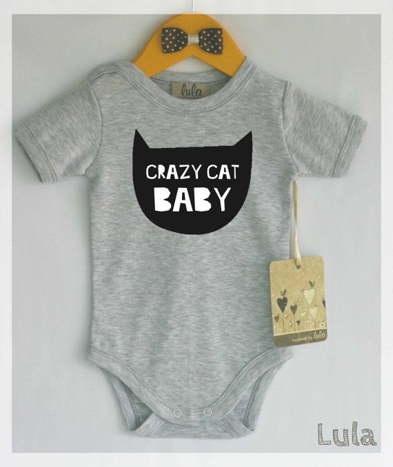 Crazy cat baby clothes. Cute and funny baby romper with cat print. cat baby clothes. Modern baby clothes.